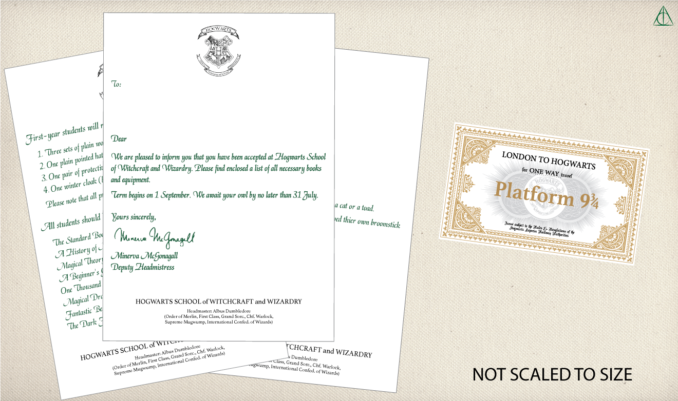 photo regarding Hogwarts Printable called Hogwarts Letter and Hogwarts Specific Ticket- No cost Printable