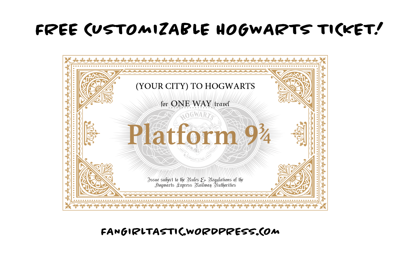 free customizable hogwarts ticket create your own